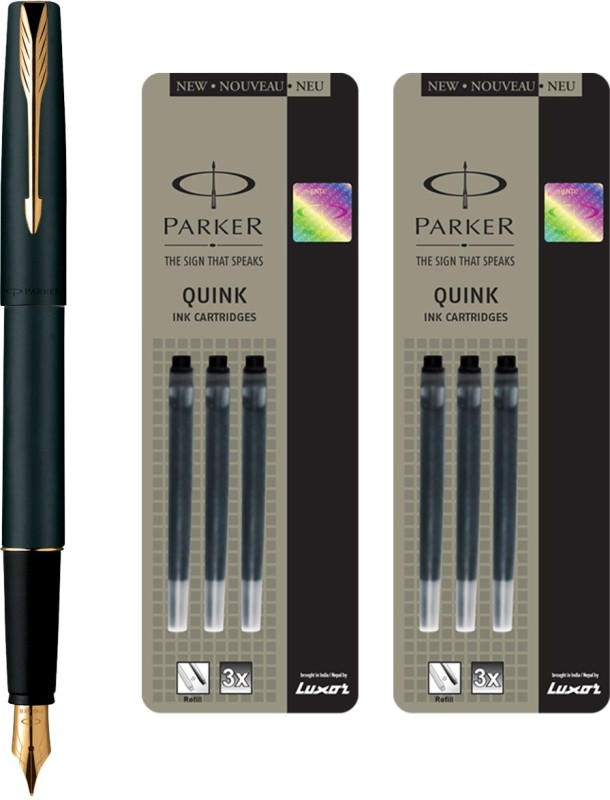 Parker Frontier Matte Black GT Fountain Pen with 6 Black Quink Ink Cartridge(Pack of 3)