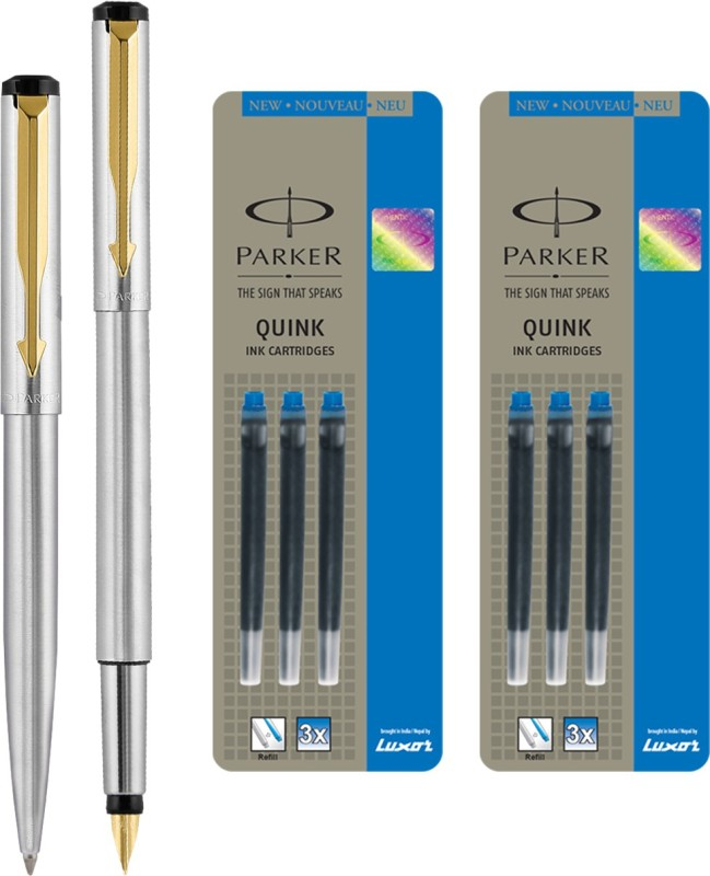 Parker Vector Stainless Steel GT Fountain Pen with Ball Pen with 6 Blue Quink Ink Cartridge(Pack of 3)