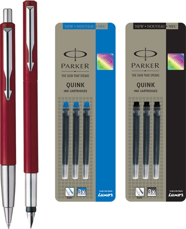 Parker Vector Standard Sets Fountain Pen with Ball Pen - Red with 3 Blue and 3 Black Quink Ink Cartridge(Pack of 3)