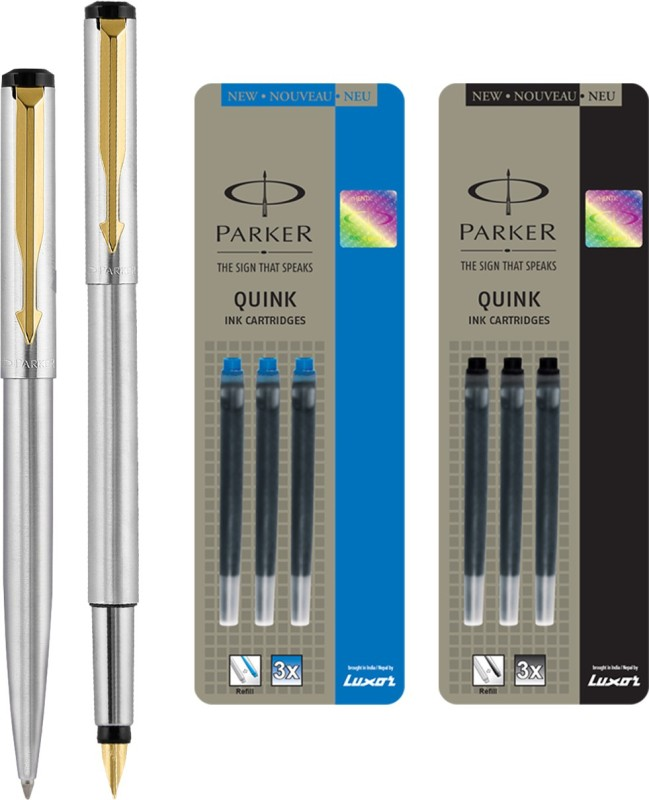 Parker Vector Stainless Steel GT Fountain Pen with Ball Pen with 3 Blue and 3 Black Quink Ink Cartridge(Pack of 4)