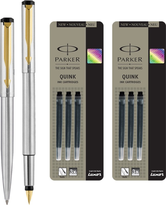Parker Vector Stainless Steel GT Fountain Pen with Ball Pen with 6 Black Quink Ink Cartridge(Pack of 4)