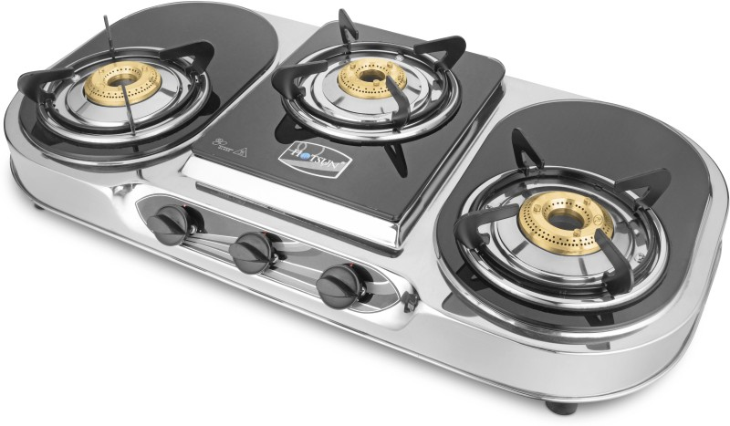 HOTSUN AURA BRASS STAINLESS STEEL BURNER Stainless Steel Manual Gas Stove(3 Burners)