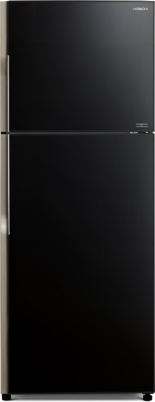 Hitachi 451 L Frost Free Double Door 2 Star Refrigerator(Glass Black, R-VG470PND3- (GBK))