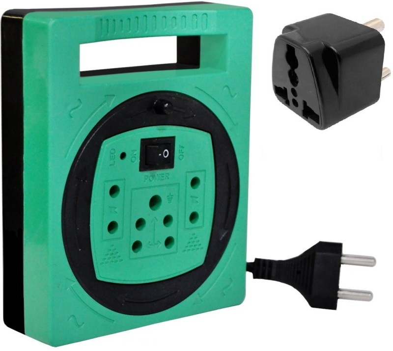 Brand one Tenzy 4 socket extension cord with 3 pin multi conversion plug 4  Socket Extension Boards(Green)
