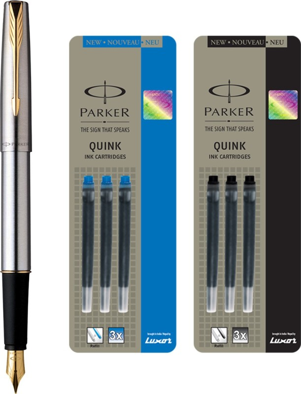 Parker Frontier Stainless Steel GT Fountain Pen with 3 Blue / 3Black Quink Ink Cartridge(Pack of 3)
