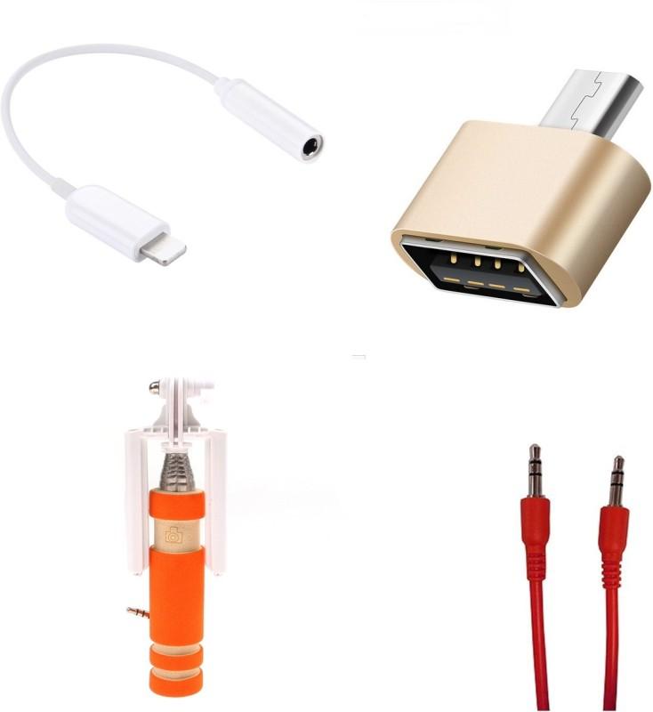 MINIFOX 3.5MM AUDIO JACK, AUX CABLE, MINI SELFIE STICK, MINI OTG Combo Set(Multicolor)