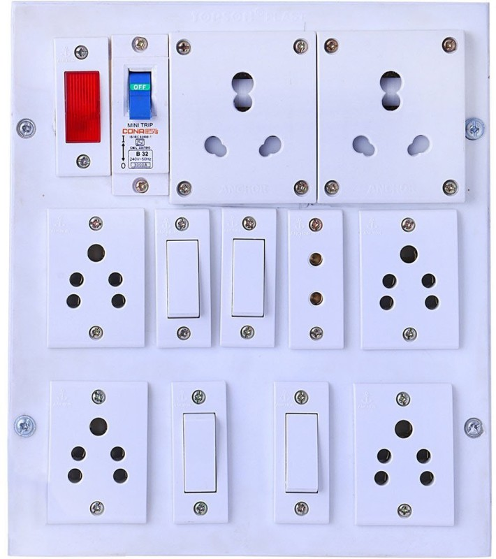 BAHUL Power strip extension multi outlet board Fitted with 7 Anchor Sockets(5 &15 Amp) with 4 Metre Chord With 15 Amp Plug 7  Socket Extension Boards(White)