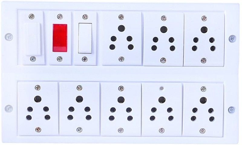 BAHUL Power strip extension multi outlet board Fitted with 8 Anchor Sockets(5 Amp) with 4 Metre Chord With 15 Amp Plug 8  Socket Extension Boards(White)