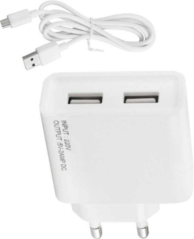 ESN 999 Op_o F3 2 A Multiport Mobile Charger with Detachable Cable(White)
