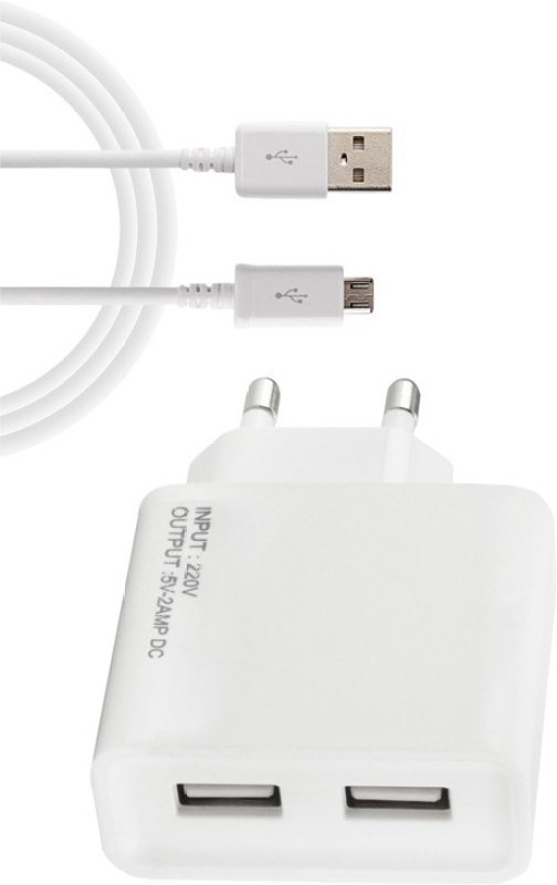 ESN 999 G_one A1 2 A Multiport Mobile Charger with Detachable Cable(White)