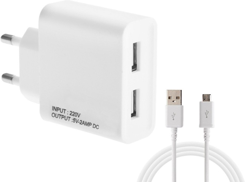 ESN 999 OP_O 1201 2 A Multiport Mobile Charger with Detachable Cable(White)