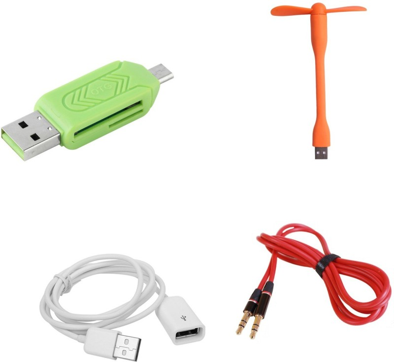 MINIFOX MtoF Cable, Aux, Usb Fan, Otg Card Reader Combo Set(Multi - Text Used For: ID, Title)