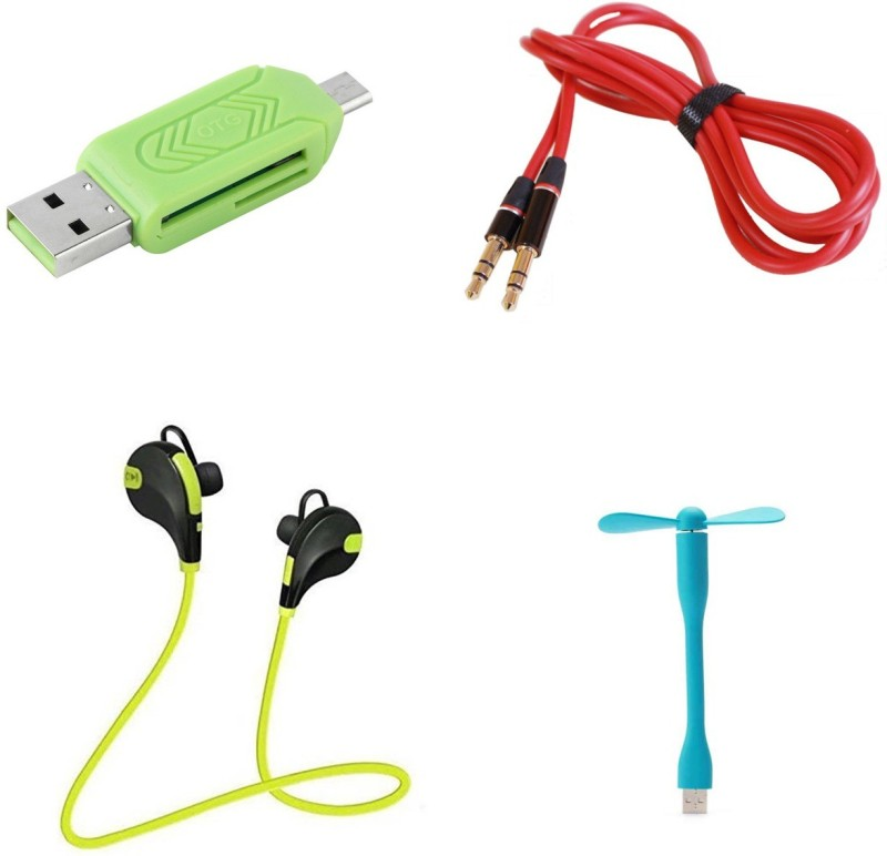 MINIFOX Bluetooth Headset, Aux, Usb Fan, Otg Card Reader Combo Set(Multi - Text Used For: ID, Title)