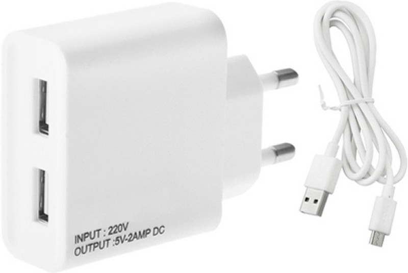 ESN 999 Ginee S11s 2 A Multiport Mobile Charger with Detachable Cable(White, Cable Included)