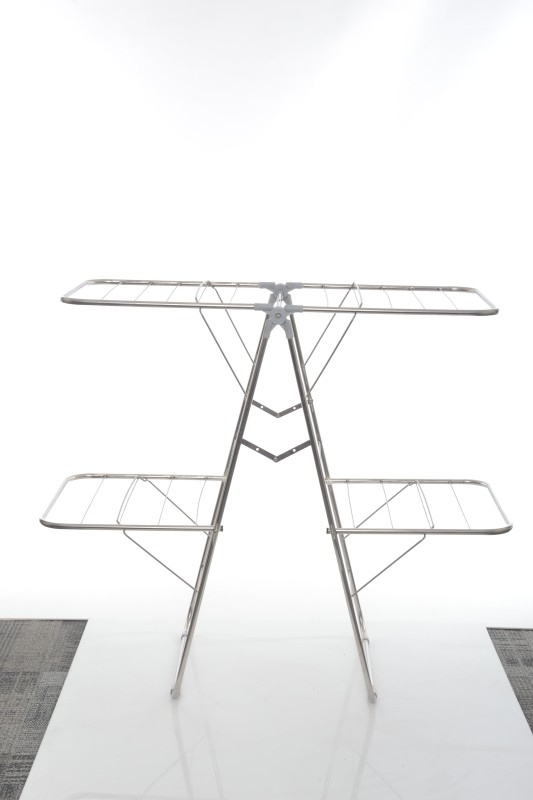 Pull 'n' Dry Pull 'n' Dry Stainless Steel 6 Way Clothes Stand Stainless Steel Floor Cloth Dryer Stand(Steel)