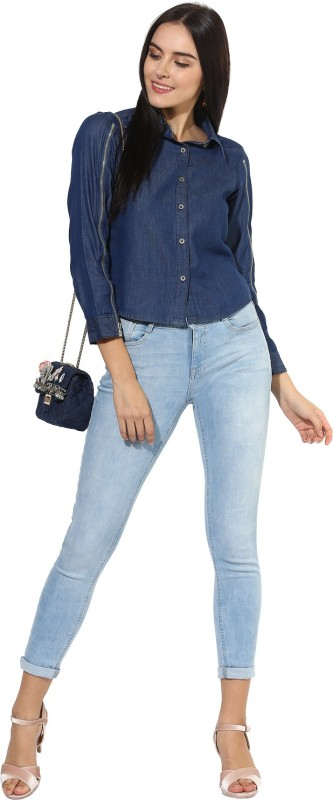 Heather Hues Women Solid Casual Blue Shirt
