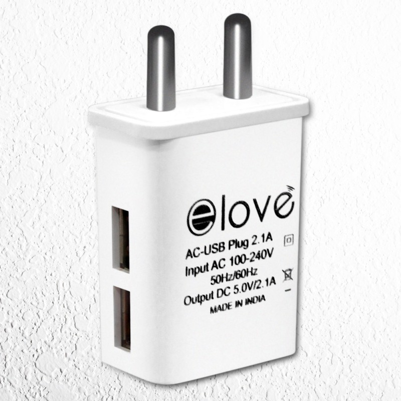 elove 2.1 Amp Dual USB Port Wall Charger Adapter 1 A Multiport Mobile Charger(White)