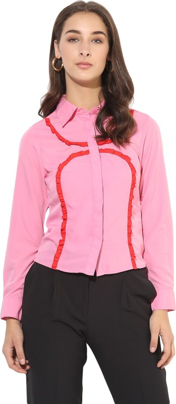 Heather Hues Women Solid Casual Pink Shirt