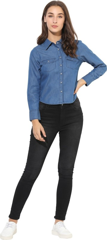 Heather Hues Women Embroidered Casual Blue Shirt