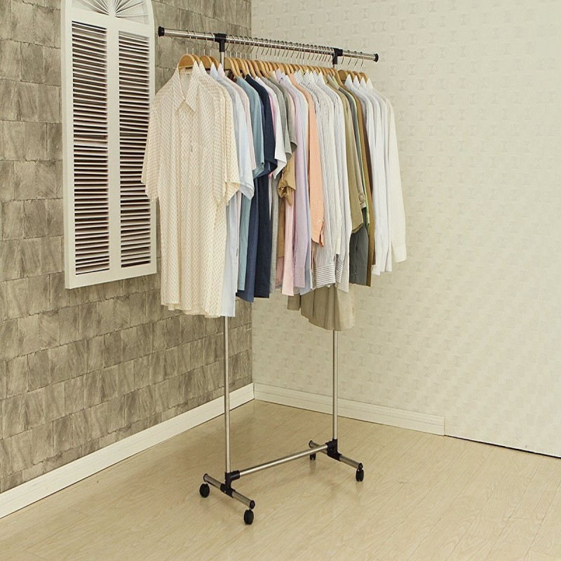 Shree YouliteSingle-pole Telescopic Clothes Hanger/Clothes rack Stainless Steel Floor Cloth Dryer Stand(Multicolor)