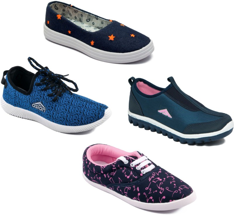 Asian Women Casual & Running Shoes Combo Pack of 4 Walking Shoes For Women(Multicolor)