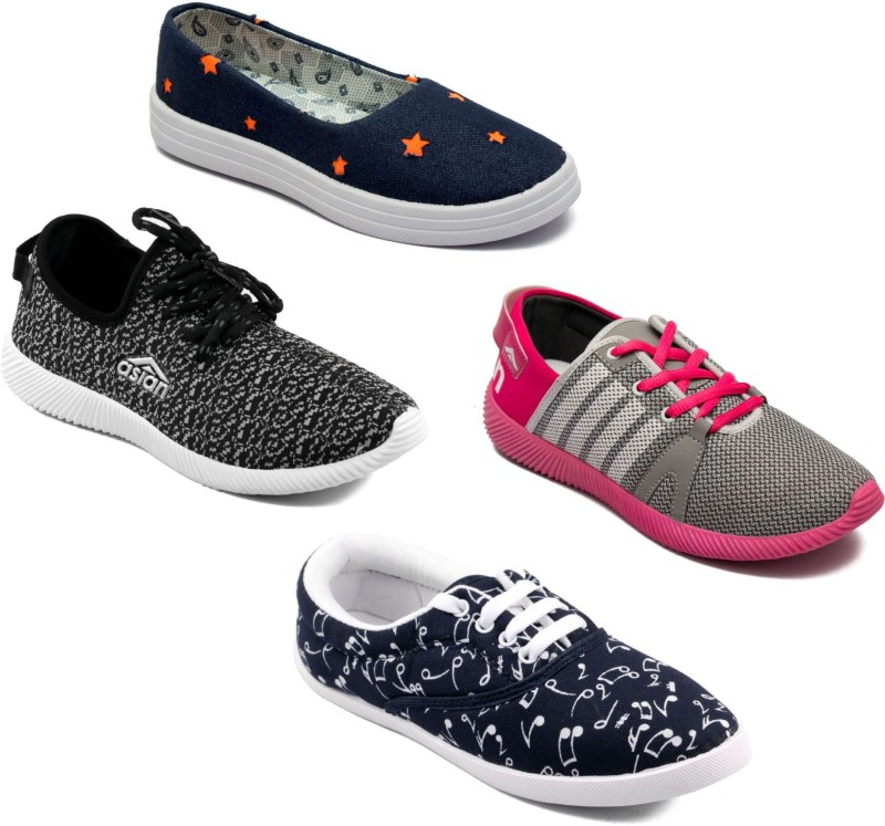 Asian Women Casual & Running Shoes Combo Pack of 4 Casuals For Women(Multicolor)