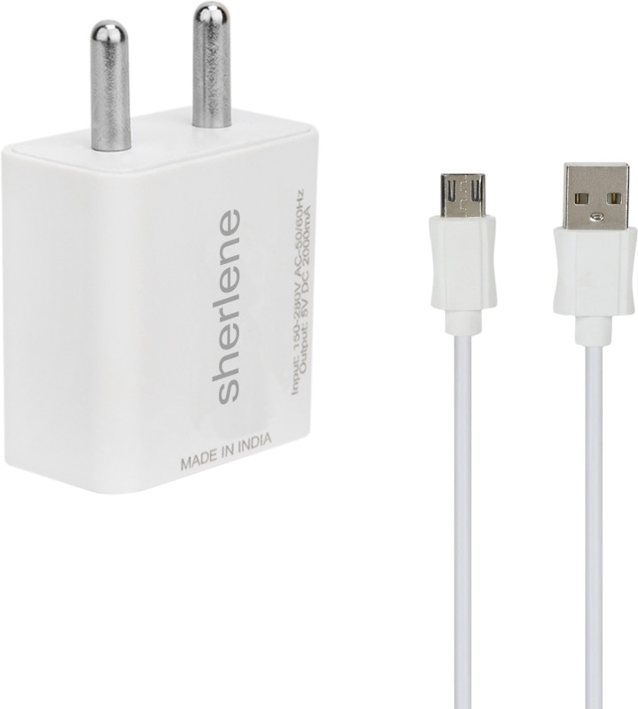 SHERLENE 2A. FAST CHARGER &SYNC/ 5 1 A Mobile Charger with Detachable Cable(White, Cable Included)