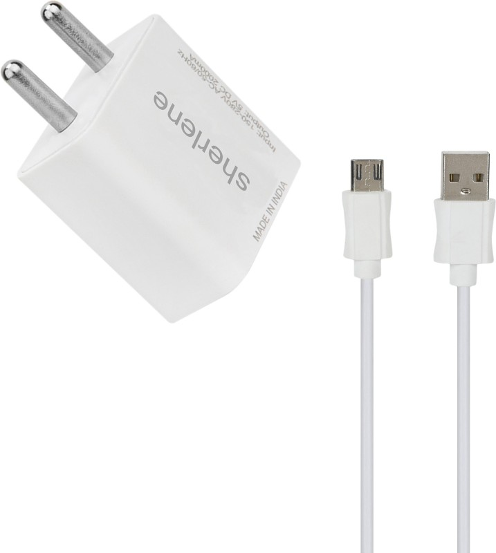 SHERLENE 2A. FAST CHARGER &S 5 1 A Mobile Charger with Detachable Cable(White, Cable Included)