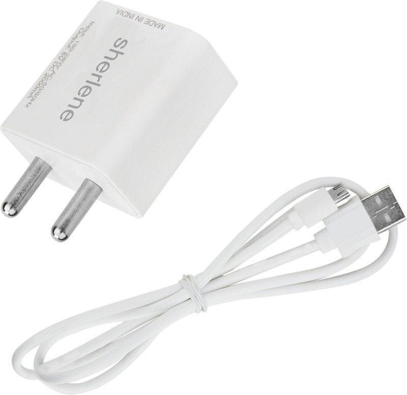 SHERLENE 2A. FAST CHARGER &SYNC/DATA CABLE FOR PANASONIC ELUGA P 55 NOVO 1 A Mobile Charger with Detachable Cable(White, Cable Included)
