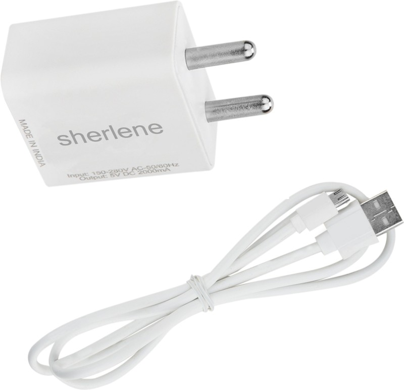 SHERLENE 2A. FAST CHARGER &SYNC/DATA CABLE FOR PANASONIC ELUGA P 88 1 A Mobile Charger with Detachable Cable(White, Cable Included)