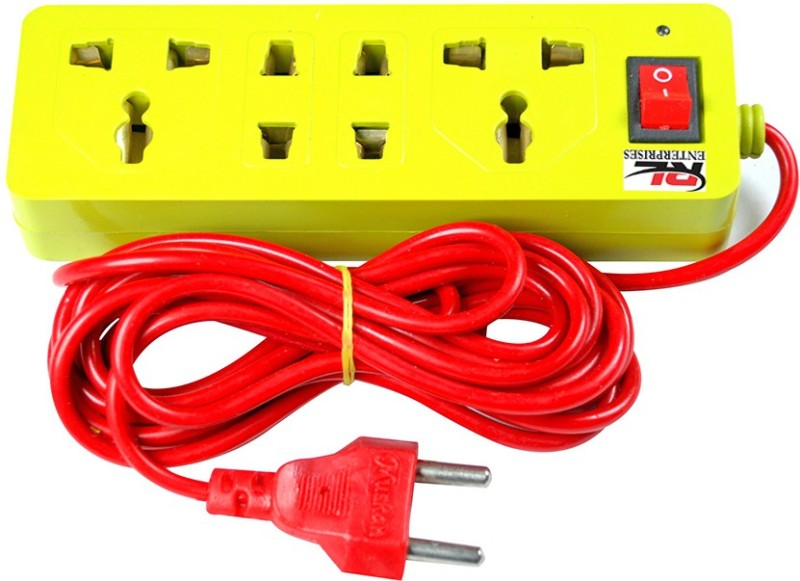 RL Enterprises Extension Cord with 3.5 Meter Long Wire 4  Socket Extension Boards(Yellow)
