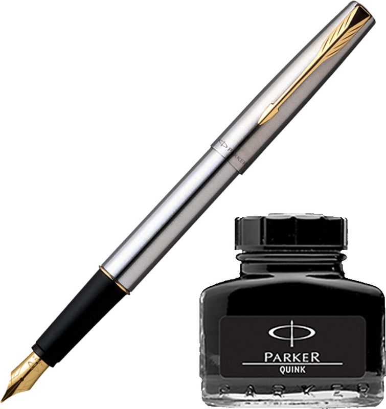 Parker Frontier Stainless Steel GT Fountain Pen with Black Quink Ink Bottle(Pack of 2)