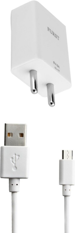 Furst 2A. Fast Charge 1 A Mobile Charger with Detachable Cable(White, Cable Included)