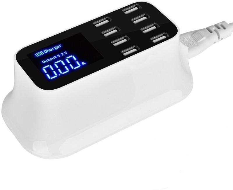 Microware [LCD Display] 8-Port USB Fast Charger Power Adapter, HIATAPO Desktop Charging Station, Quick Charge with Smart IC Auto Detect Tech for Mobile Phone and Tablet 8 PORT HUB USB Hub(White)