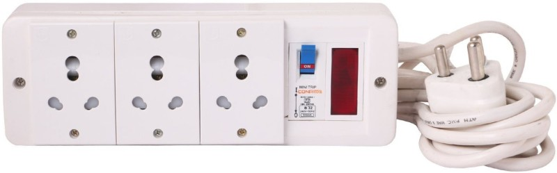 Bahul Power strip extension multi outlet board Fitted with 3 Anchor Sockets(15 Amp),Anchor Indicator,Anchor/Cona MCB And 4 Metre Wire With 15 Amp Plug 3  Socket Extension Boards(White)