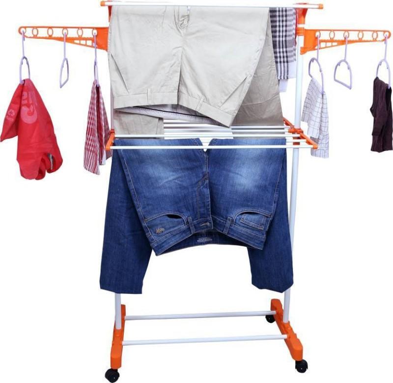 Best 4U Stainless Steel Floor Cloth Dryer Stand(Orange)