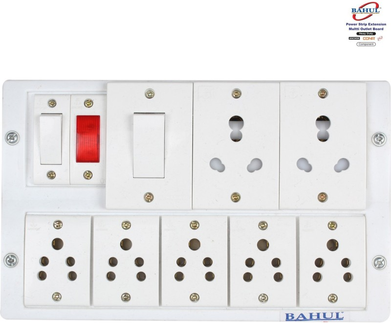 Shri Krishna Bahul power strip extension multi outlet board Fitted with 2 Anchor Switches And 2 Anchor Sockets (15-Amp)& 5 Anchor (5-Amp) with 2 metre 4 metre Chord. 4  Socket Extension Boards(White)