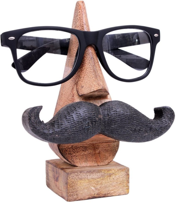"Stowoods Crafts 6"" Handmade Wooden Spectacle Holder - Wooden Nose Eyeglass Holder / Spectacle Display Stand / Wooden Spectacle Stand Holder - Unique Desktop Accessory and Gifts Decorative Showpiece  -  15.24 cm(Wooden, Brown)"