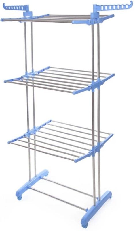 SHP DOUBLE Pole Extra Heavy pure indian stainless Steel Floor Cloth Dryer Stand(Blue, Orange)