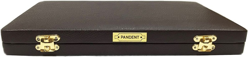 Oscar Velvet Pendent Hooks for Display Jewelry Organizer Case Box Pendent Storage Box Brown with 2 Locks Show Case Leather Finished (Not Leather Product) jewellery Vanity Box(Brown, Golden)