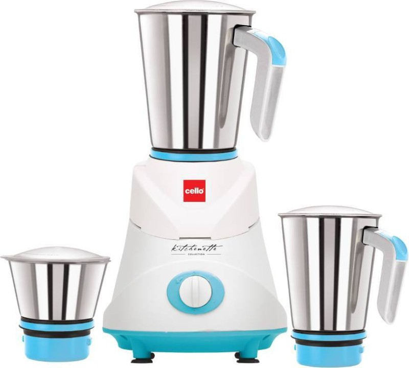 Cello Grind N Mix Elite 500 W Mixer Grinder (Blue White, 3 Jars) 500 W Mixer Grinder(White, Blue, 3 Jars)