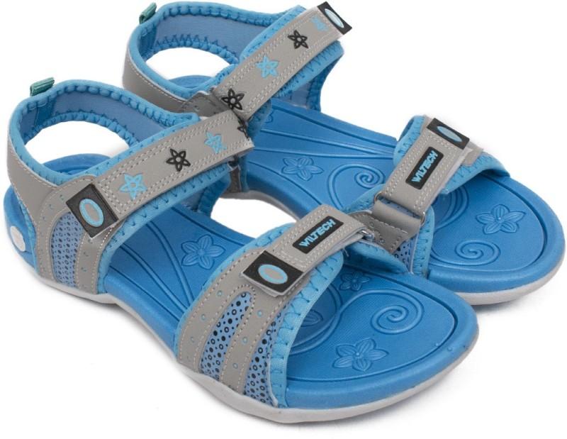 Asian Women Grey, Blue Sports Sandals
