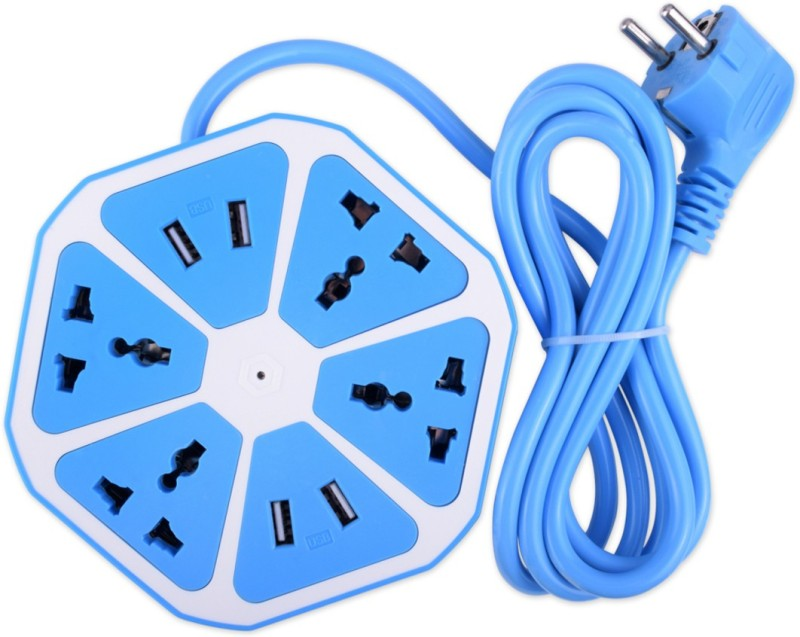 secro Surge-Protected Power Strip, Smart 4-Outlet with 4-USB Hexagon Power Socket with 6ft Cord for Home / Office (Blue) 4  Socket Extension Boards(Blue)