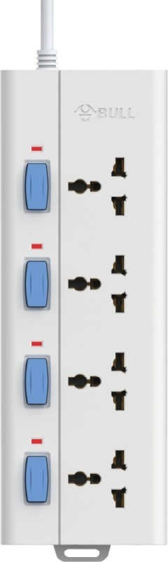 BULL 4 Socket, 4 Switch, 1.5 M Wire Extension Board with Circuit Breaker 4  Socket Extension Boards(White)
