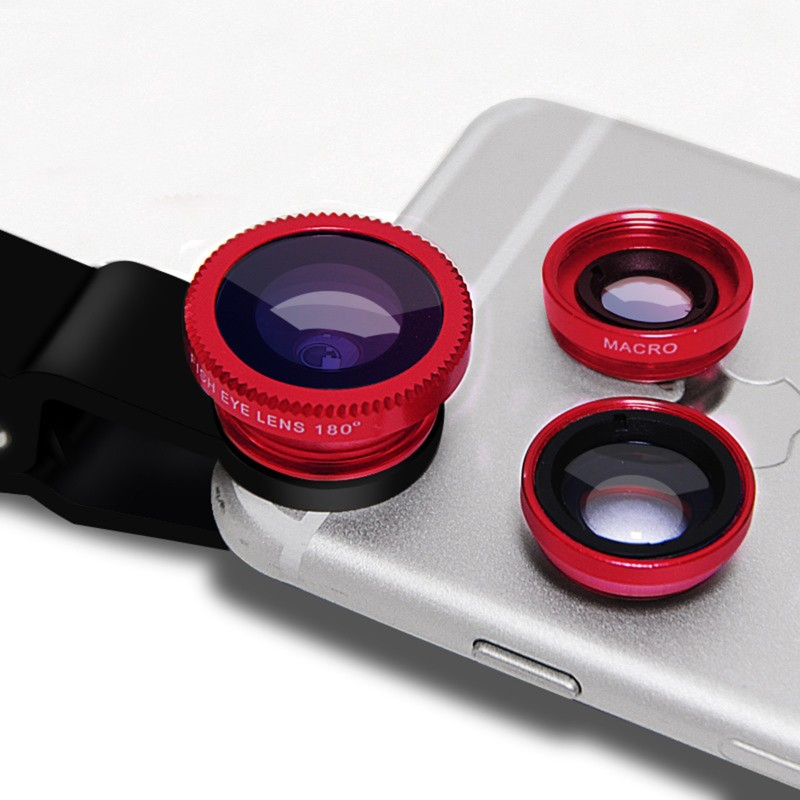 SCORIA Universal Clip-On 3 in 1 Mobile Cell Phone Camera Lens Kit | 180 Degree | Fisheye Lens + 067X Wide Angle + 10X Macro Lens| With Lens Clip Holders Compatible With All Android And IOS Phones Mobile Phone Lens