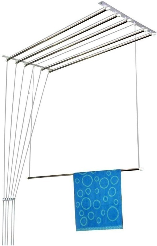 Wel-Tech Premium Clothesline 5 Feet * 6 Pipes Individual Drop Down Railers Stainless Steel Ceiling Cloth Dryer Stand(Steel)