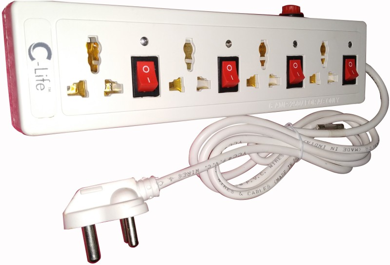 c-life POWER STRIP & EXTENSIONE CORD 4  Socket Extension Boards(White)