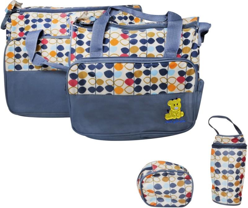 EZ Life Baby Diaper Bag Kit - Multicolor Leaves (Set of 5) - 1 diaper bag, 1 carry bag, 1 small pouch, 1 bottle cover & 1 diaper changing mat - Waterproof - Nylon - Grey Diaper Bag(Grey)