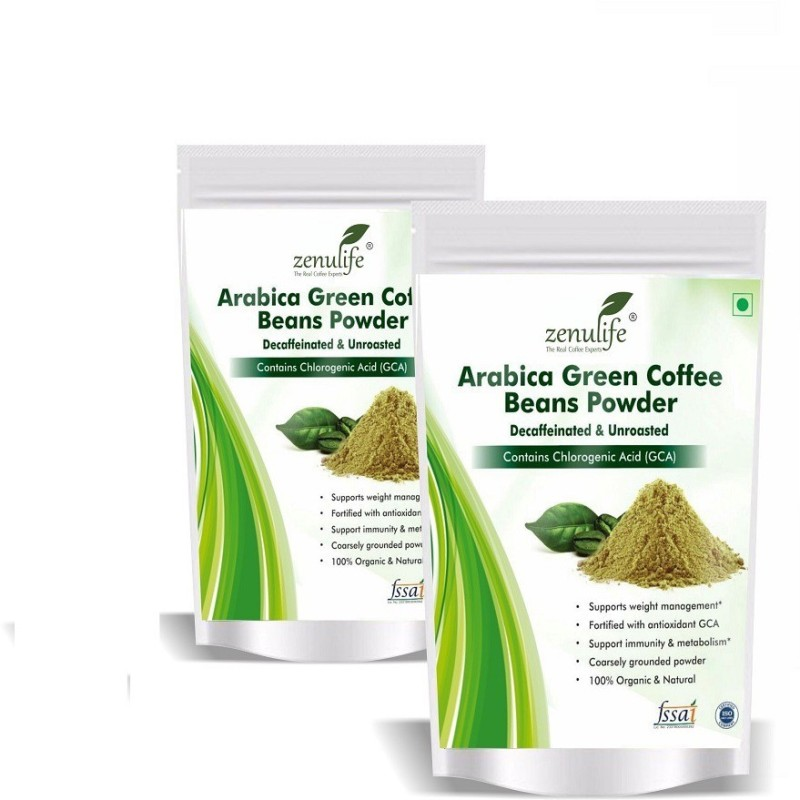 Zenulife Green Coffee Beans Organic Powder for Weight Loss - 100% Pure, Unroasted, Arabica AAA+ - 800g (Pack of 2 ) Instant Coffee(2 x 400 g)