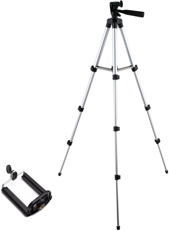 BUY GENUINE Portable & Adjustable Lightweight DSLR Camera Stand Tripod-3110 With Three-Dimensional Head & Quick Release Plate For Videos Cameras Camcorders with Mobile Holder Mount For Android Phone Tripod(Silver & Black, Supports Up to 1500)
